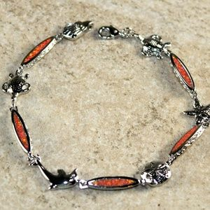 Orange Fire Opal Bracelet Sea Animal Crab Turtle